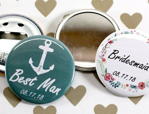 Chapas espejo y Chapas abrebotellas para detalles de boda